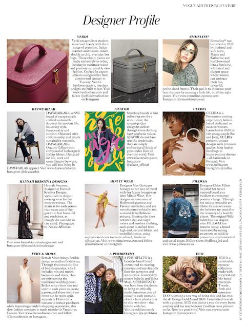 British Vogue Oct 2020 Designer Profile