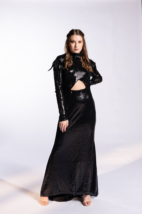 Edgy Black Sequin Gown