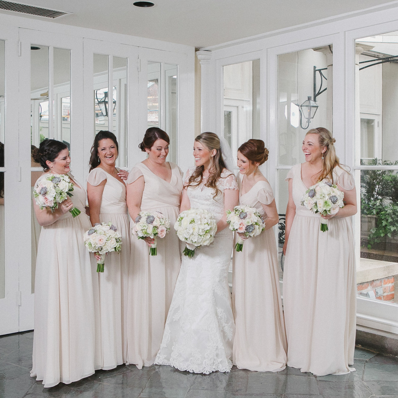Gorgeous bride and her bridesmaids