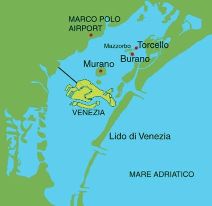 mapa ilustrado mostrando a posicao geografica de Veneza
