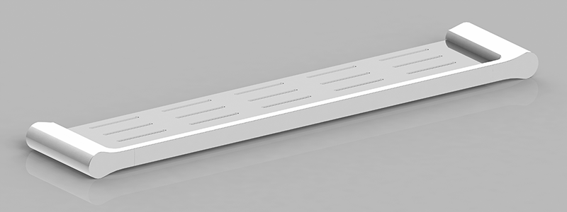 Bassini Metal Shelf White/Chrome
