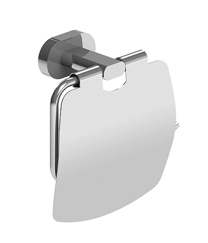 Lento Toilet Roll Holder Chrome With Lid