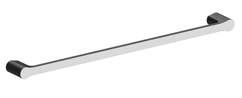 Bassini 600mm Single Towel Rail Black/Chrome