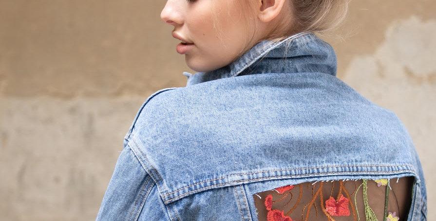 Jeansjacke mit transparentem Rücken