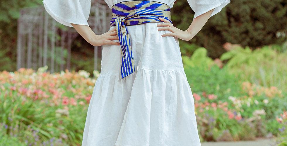 Leinenkleid mit Ikat-Gürtel