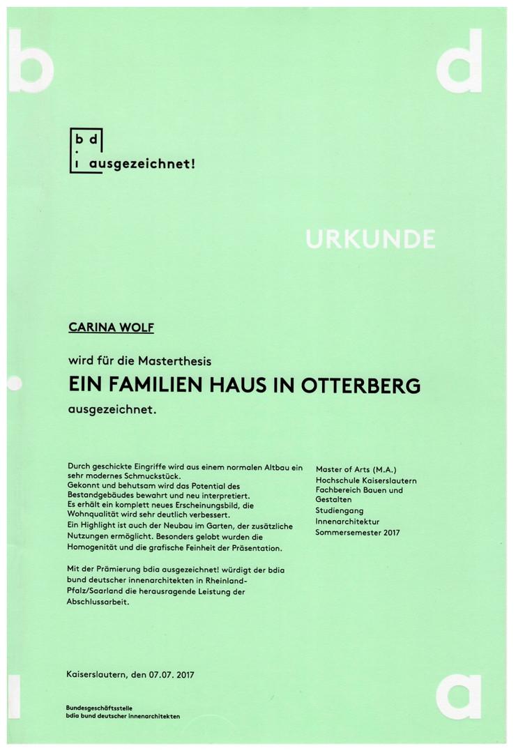 Auszeichnung Bund Deutscher Innenarchitekten