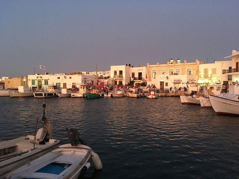 The port of Naousa during sunset.