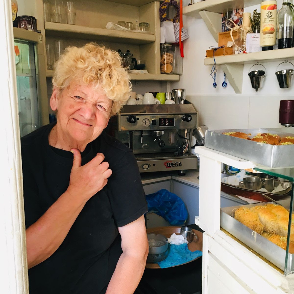 Ms Maria who prepares the best traditional pastry on the island