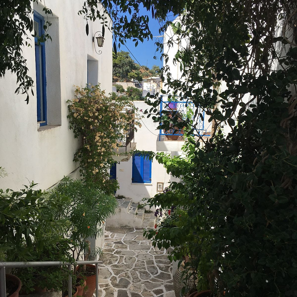 Walking street in the heart of the mountain village Lefkes