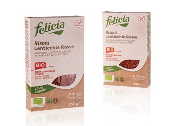 פליסיה - 100% עדשים אדומות אורגניות בצורת אורז