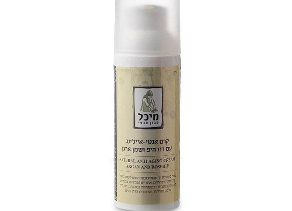 מיכל סבון טבעי- קרם פנים אנטי-אייג'ינג עם רוז היפ ושמן ארגן
