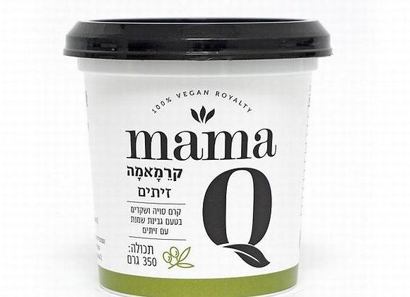 מאמא קיו- קרם סויה ושקדים בטעם גבינת שמנת עם זיתים- 350 גרם