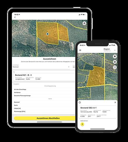Das Dynamic Forest-System als App für das Smartphone und iPad.