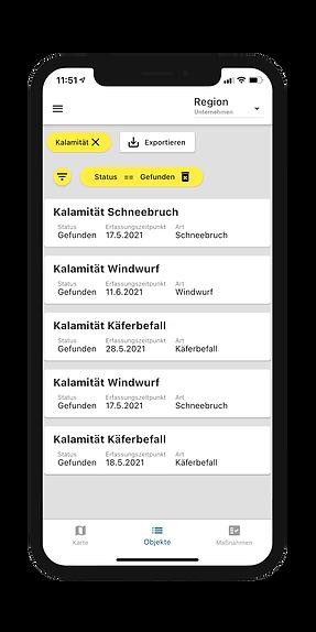Forstmanagement in der Objektübersicht der Dynamic Forest-App von OCELL