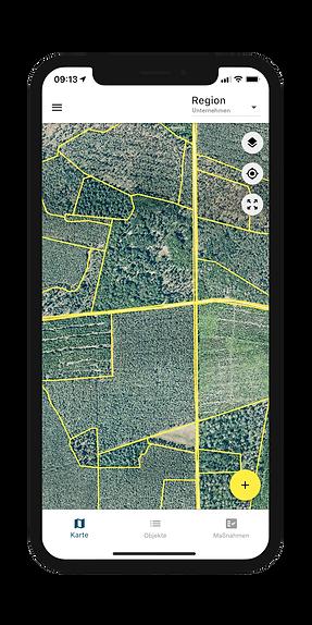 Forstmanagement auf der Kartenansicht der Dynamic Forest-App von OCELL