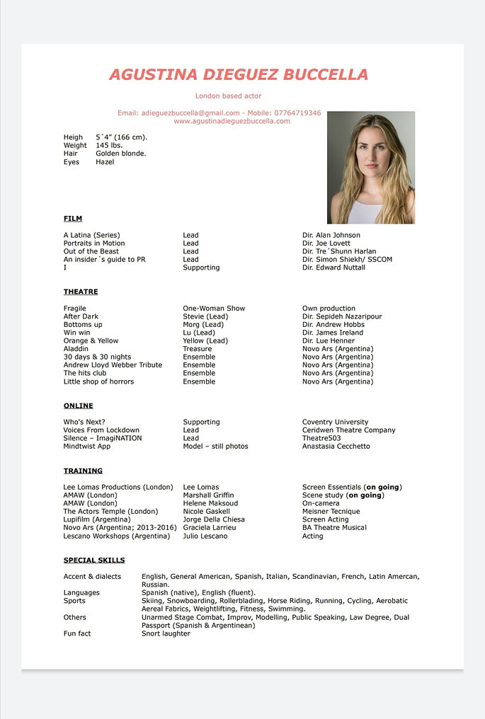 Agustina Dieguez Buccella Acting Resume