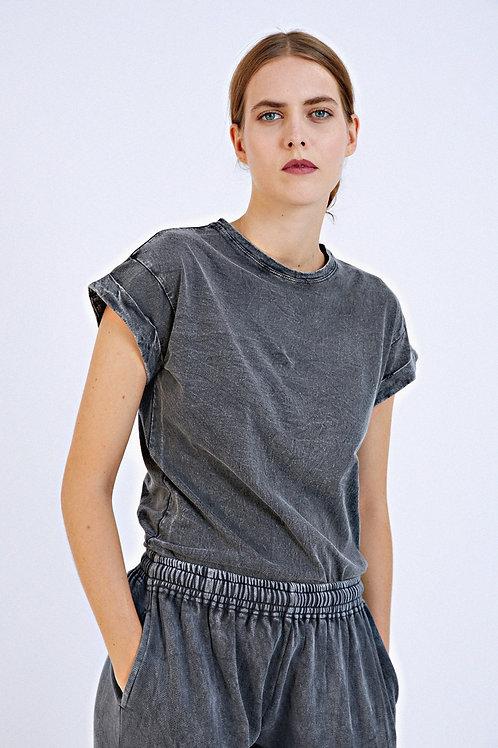 T-shirt Fun noir délavé