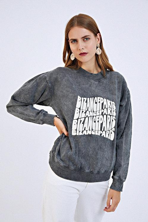 Sweat-shirt Frédérique noir délavé