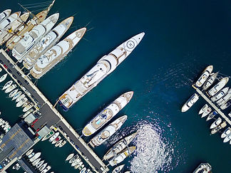 aerial-view-of-super-yachts-in-harbor-on