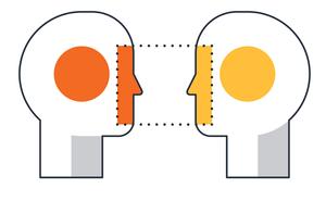Duas cabeças pensando, simbolizando a forma.