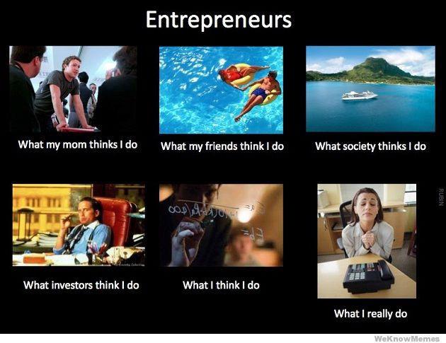 Meme de brincadeira sobre a vida empreendedores