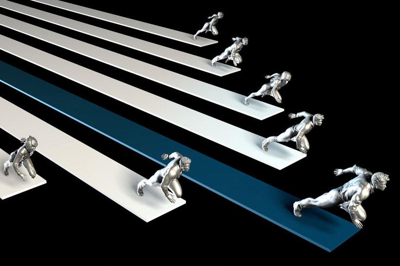 homens correndo cada um em uma faixa