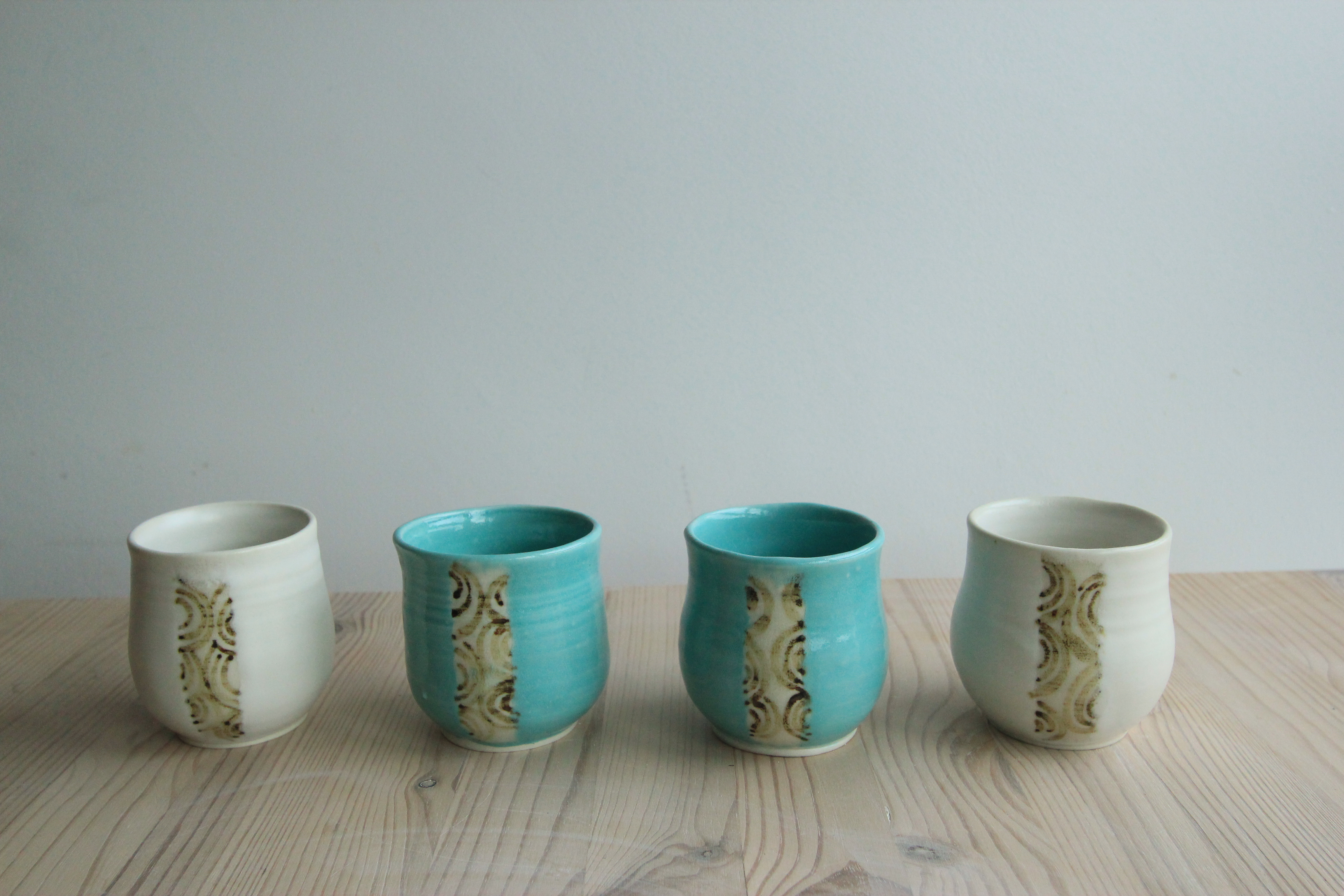 Turquoise and White teacups