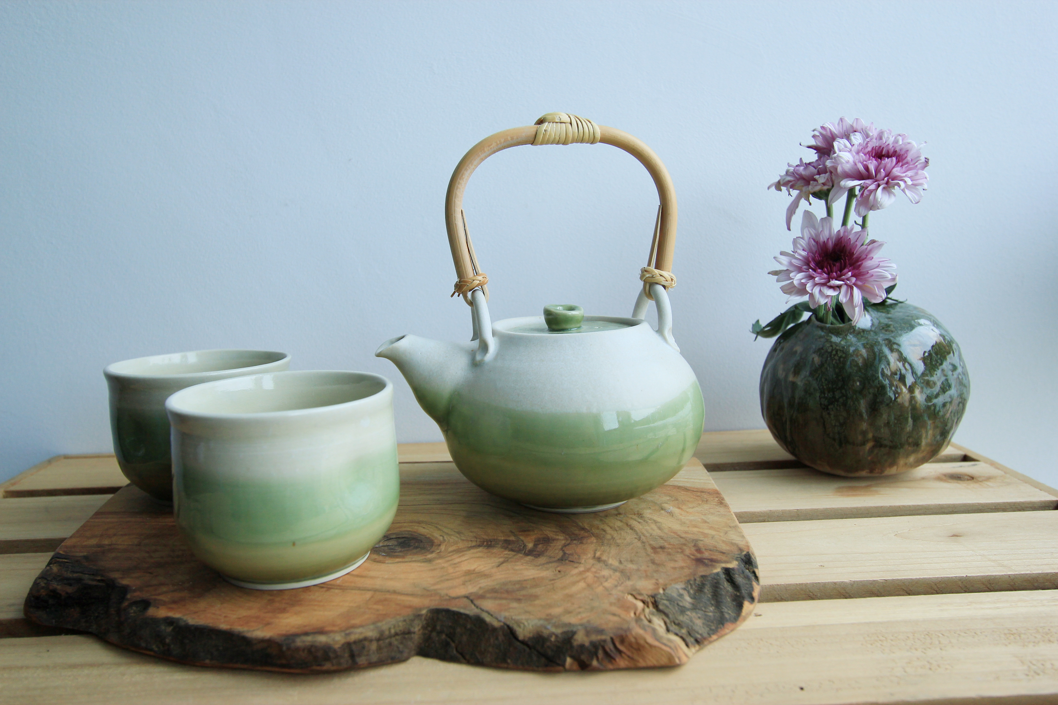 green white teapot