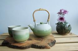 green white teapot