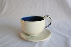 Blue teacup and saucer