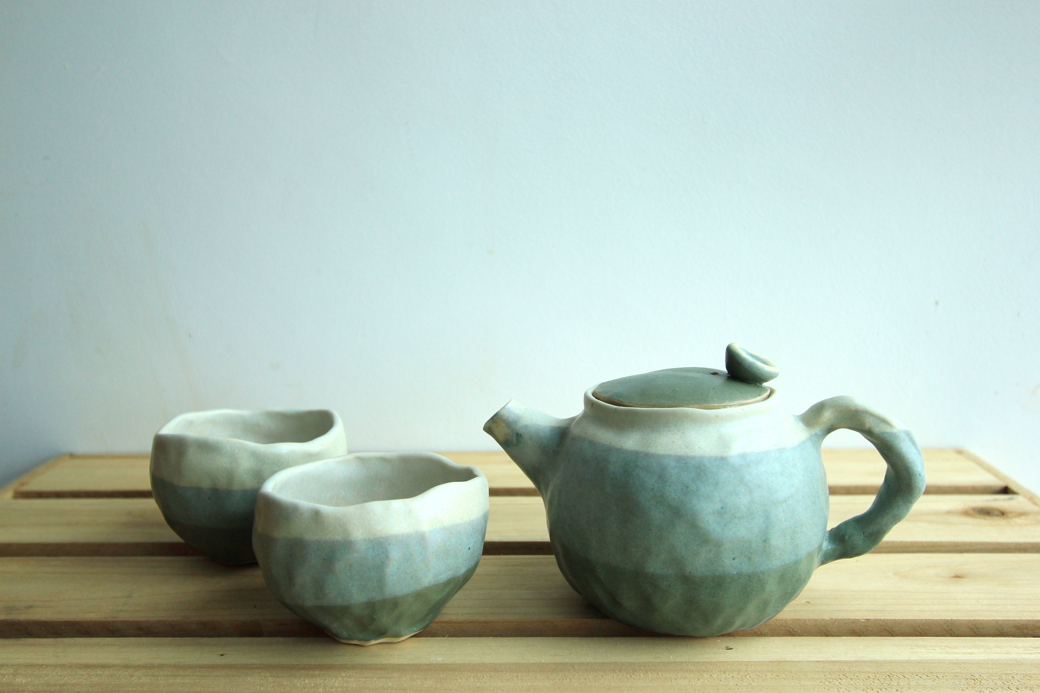 Hand pinched teapot set