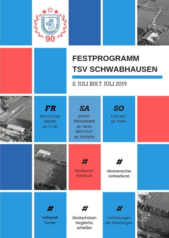 FESTPROGRAMM: Der TSV Schwabhausen feiert seinen 90. Geburtstag!