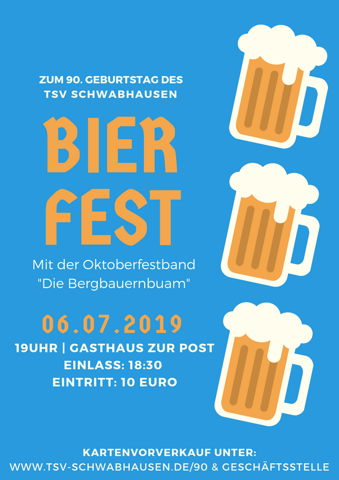 """BIERFEST MIT DER ORIGINAL OKTOBERFESTBAND: """"Die Bergbauernbuam"""" sind beim TSV zu Gast!"""