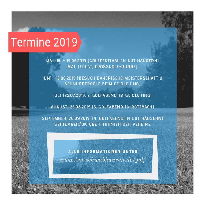 SAVE THE DATE: Golfprogramm Saison 2019