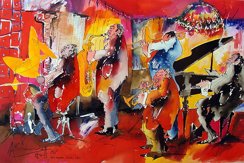 """New Orleans Jazz Society Co"" watercolor on paper"