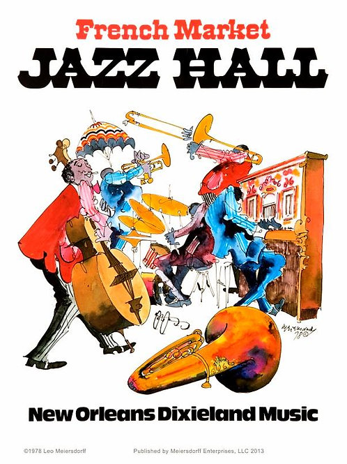 """""""French Market Jazz Hall"""" Poster"""