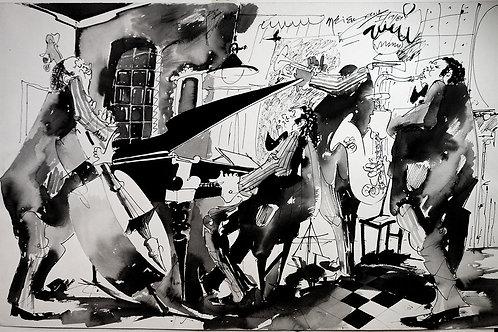 ORIGINAL Watercolor Untitled in Black & White Tones