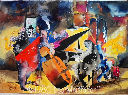 ORIGINAL Untitled Jazz Combo Watercolor Painting