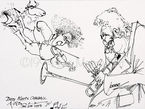 "ORIGINAL DRAWING ""Dizzy Meets Chagall - Jan. 6th 1993"""