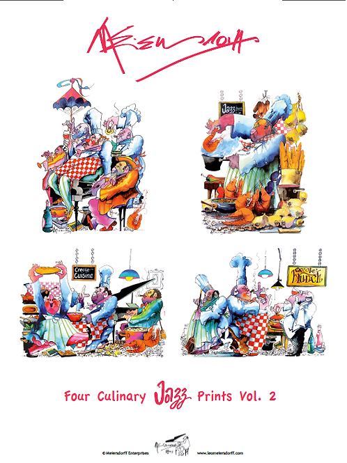 """Culinary Jazz Prints Vol. 2"" Set of 4 INDIVIDUAL prints + COVER SHEET"