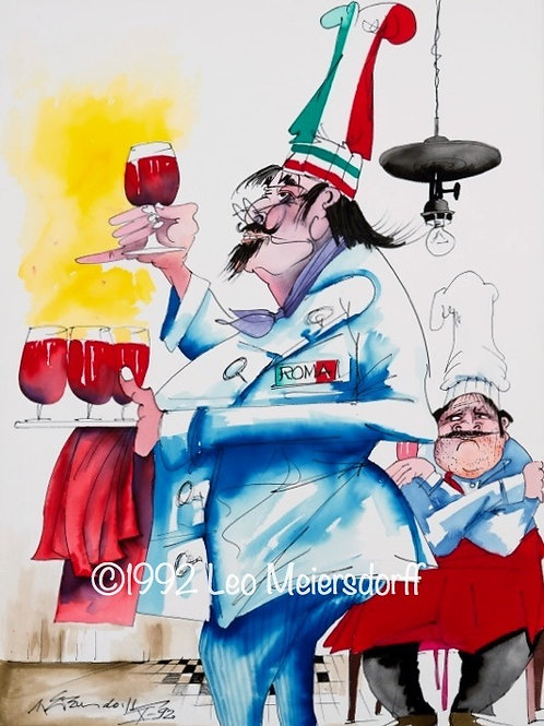 """ORIGINAL Chef """"Roma"""" Watercolor-Ink Painting"""
