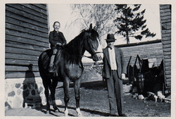 Leo on Horse at Family Estate  1944