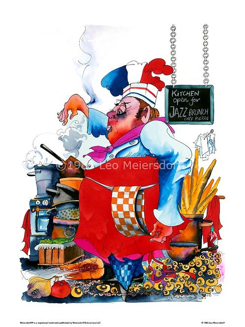 """Chef Pierre"" Jazz Brunch ORIGINAL WATERCOLOR"