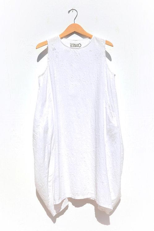 White Linen Pocket Dress