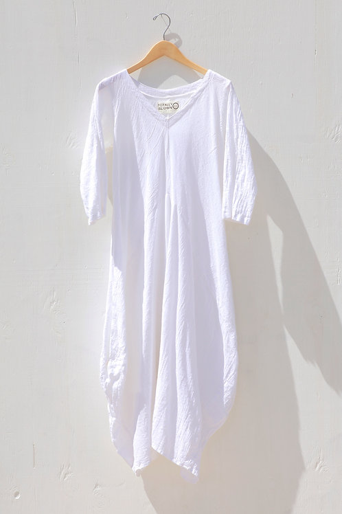 Moroccan Cotton Gauze Dress White