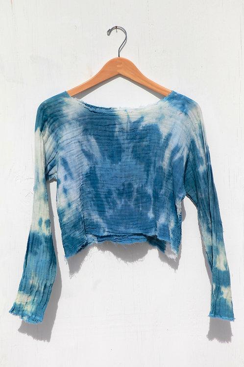 Indigo Dyed Cotton Gauze Long Sleeve Blouse