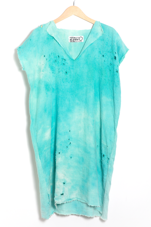 Turquoise Linen Dress