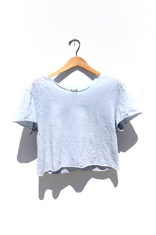 Crop Slub Tee Grey