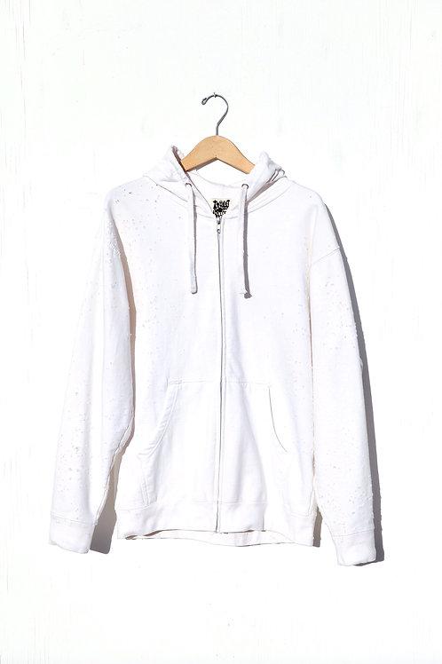 White Zipper Hoodie