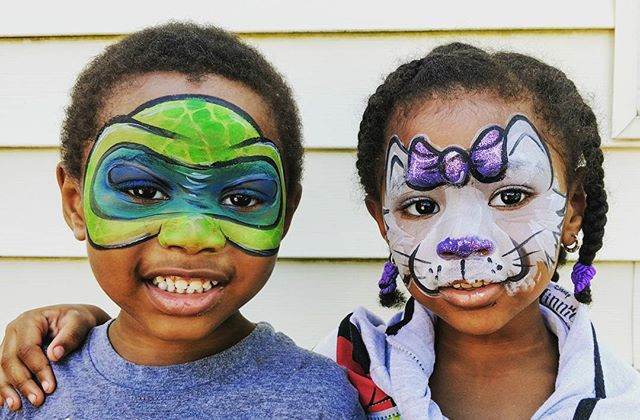 Awesome twins at today's face paint event! Absolutely adorable!!!! #facepaint #festival #fun #community #twins #toocute #ninjaturtles #kitty